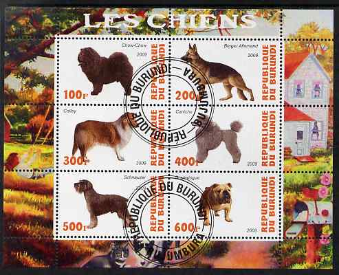 Burundi 2009 Dogs #2 perf sheetlet containing 6 values fine cto used
