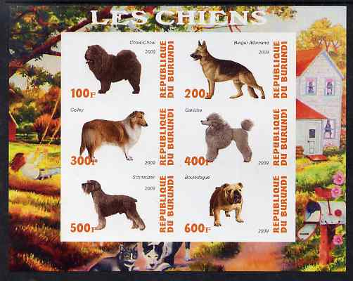 Burundi 2009 Dogs #2 imperf sheetlet containing 6 values unmounted mint, stamps on dogs