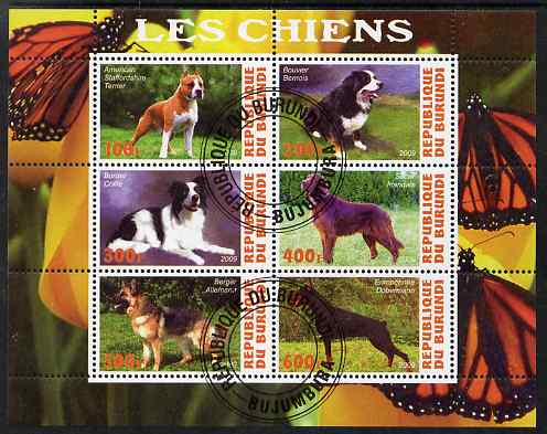 Burundi 2009 Dogs #3 perf sheetlet containing 6 values fine cto used
