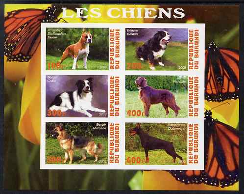 Burundi 2009 Dogs #3 imperf sheetlet containing 6 values unmounted mint