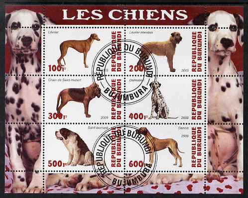 Burundi 2009 Dogs #4 perf sheetlet containing 6 values fine cto used