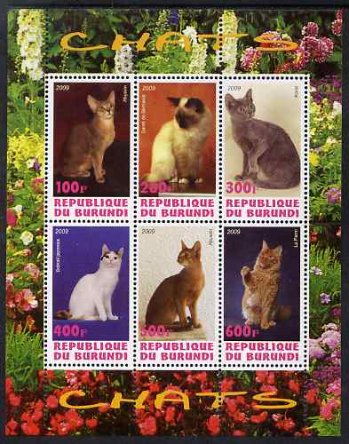 Burundi 2009 Domestic Cats #2 perf sheetlet containing 6 values unmounted mint
