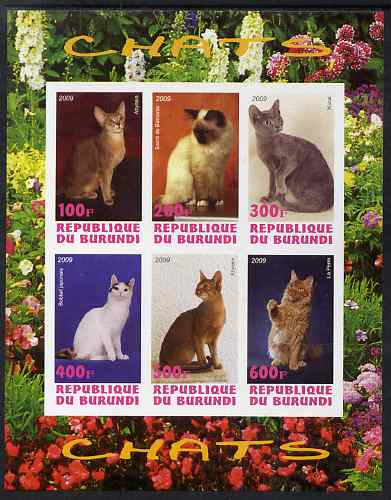 Burundi 2009 Domestic Cats #2 imperf sheetlet containing 6 values unmounted mint