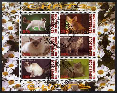 Burundi 2009 Domestic Cats #3 perf sheetlet containing 6 values fine cto used, stamps on cats