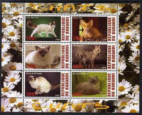 Burundi 2009 Domestic Cats #3 perf sheetlet containing 6 values unmounted mint