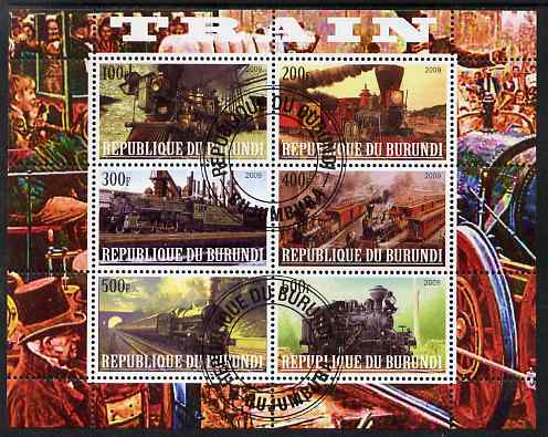 Burundi 2009 Steam Locos #3 perf sheetlet containing 6 values fine cto used