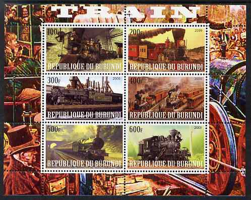 Burundi 2009 Steam Locos #3 perf sheetlet containing 6 values unmounted mint