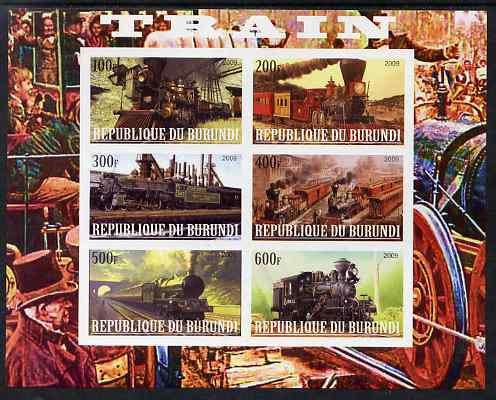 Burundi 2009 Steam Locos #3 imperf sheetlet containing 6 values unmounted mint