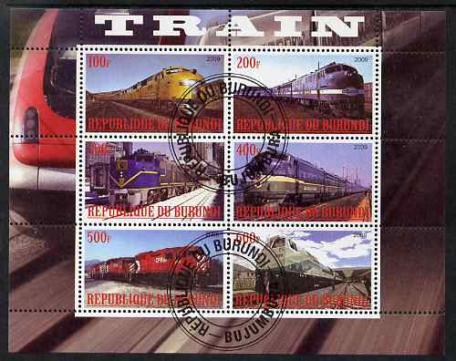 Burundi 2009 Diesel Locos perf sheetlet containing 6 values fine cto used