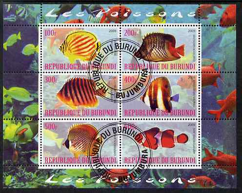Burundi 2009 Tropical Fish #1 perf sheetlet containing 6 values fine cto used