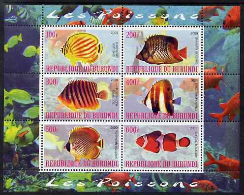 Burundi 2009 Tropical Fish #1 perf sheetlet containing 6 values unmounted mint