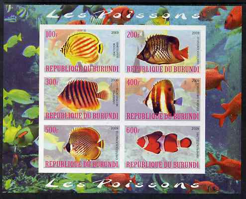 Burundi 2009 Tropical Fish #1 imperf sheetlet containing 6 values unmounted mint