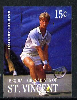 St Vincent - Bequia 1988 International Tennis Players 15c (Anders Jarryd) imperf progressive proof in 4 colours only (orange omitted leaving Country, name and value in white) unmounted mint*