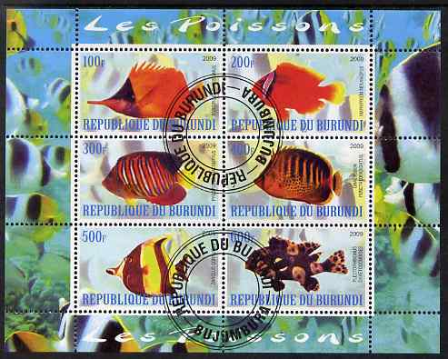Burundi 2009 Tropical Fish #2 perf sheetlet containing 6 values fine cto used