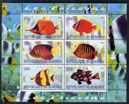 Burundi 2009 Tropical Fish #2 perf sheetlet containing 6 values unmounted mint