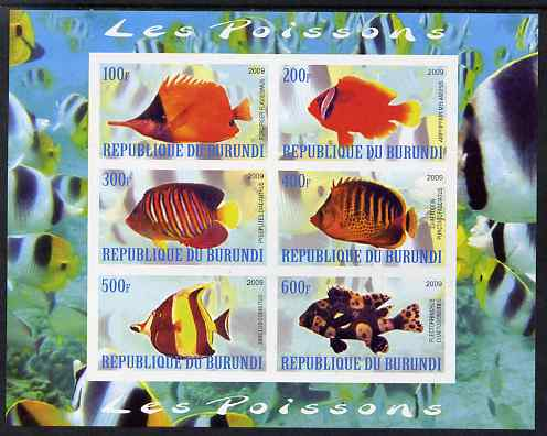 Burundi 2009 Tropical Fish #2 imperf sheetlet containing 6 values unmounted mint