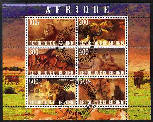 Burundi 2009 African Animals #1 perf sheetlet containing 6 values fine cto used