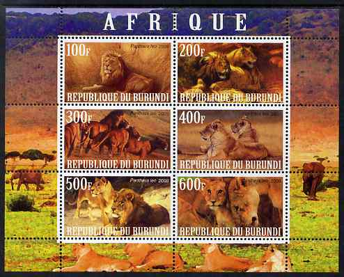 Burundi 2009 African Animals #1 perf sheetlet containing 6 values unmounted mint