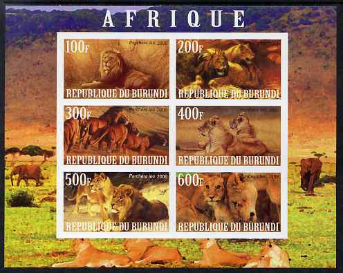 Burundi 2009 African Animals #1 imperf sheetlet containing 6 values unmounted mint