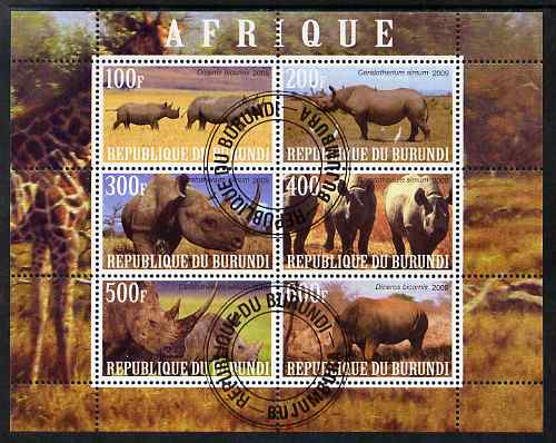 Burundi 2009 African Animals #2 perf sheetlet containing 6 values fine cto used