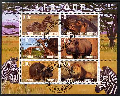 Burundi 2009 African Animals #3 perf sheetlet containing 6 values fine cto used