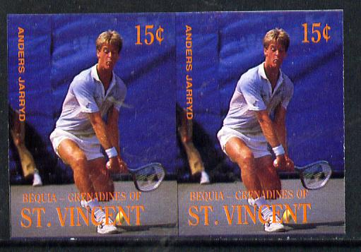 St Vincent - Bequia 1988 International Tennis Players 15c (Anders Jarryd) imperf horiz pair unmounted mint*