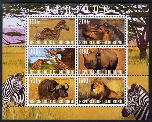 Burundi 2009 African Animals #3 perf sheetlet containing 6 values unmounted mint