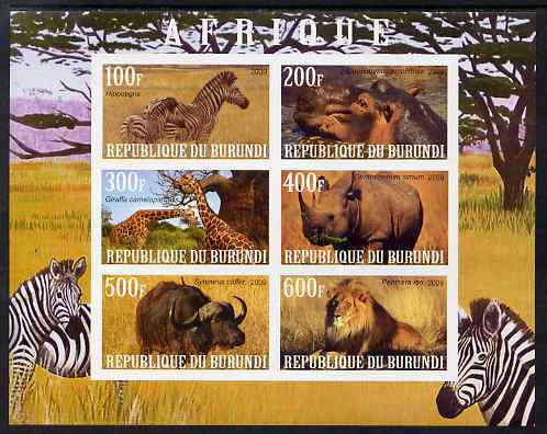 Burundi 2009 African Animals #3 imperf sheetlet containing 6 values unmounted mint