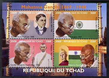Chad 2009 Mahatma Gandhi perf sheetlet containing 4 values unmounted mint. Note this item is privately produced and is offered purely on its thematic appeal.