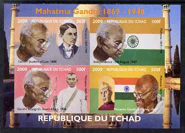 Chad 2009 Mahatma Gandhi imperf sheetlet containing 4 values unmounted mint. Note this item is privately produced and is offered purely on its thematic appeal.