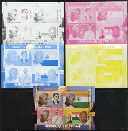 Chad 2009 Mahatma Gandhi sheetlet containing 4 values - the set of 5 imperf progressive proofs comprising the 4 individual colours plus all 4-colour composite, unmounted mint