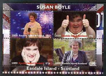 Easdale 2009 Susan Boyle perf sheetlet containing 4 values unmounted mint