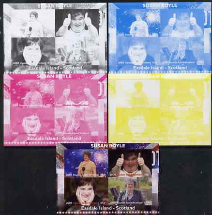 Easdale 2009 Susan Boyle sheetlet containing 4 values - the set of 5 imperf progressive proofs comprising the 4 individual colours plus all 4-colour composite, unmounted mint