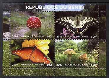 Benin 2009 Mushrooms and Butterflies #1 perf sheetlet containing 4 values unmounted mint. Note this item is privately produced and is offered purely on its thematic appeal , stamps on fungi, stamps on butterflies