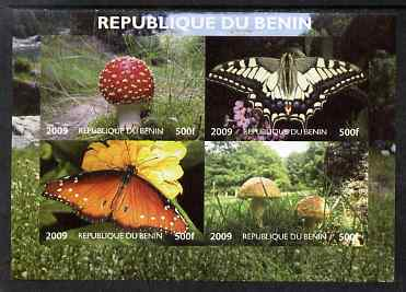 Benin 2009 Mushrooms and Butterflies #1 imperf sheetlet containing 4 values unmounted mint. Note this item is privately produced and is offered purely on its thematic app...