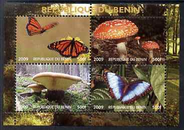 Benin 2009 Mushrooms and Butterflies #2 perf sheetlet containing 4 values unmounted mint. Note this item is privately produced and is offered purely on its thematic appeal