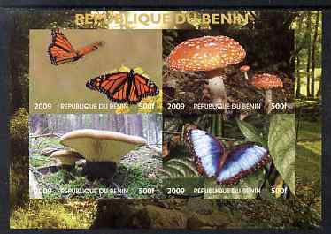 Benin 2009 Mushrooms and Butterflies #2 imperf sheetlet containing 4 values unmounted mint. Note this item is privately produced and is offered purely on its thematic appeal