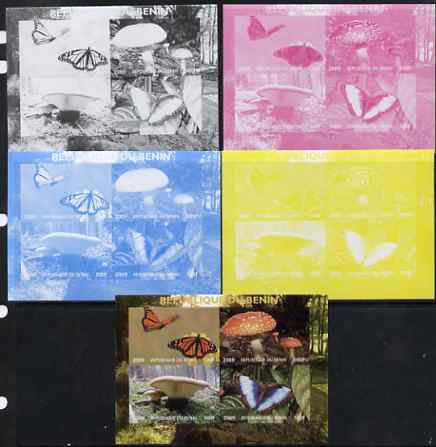 Benin 2009 Mushrooms and Butterflies #2 sheetlet containing 4 values - the set of 5 imperf progressive proofs comprising the 4 individual colours plus all 4-colour composite, unmounted mint