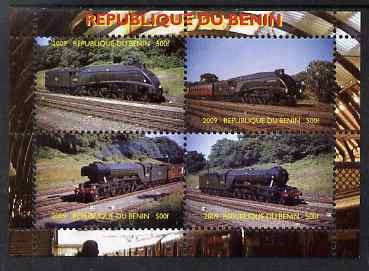Benin 2009 Steam Locomotives perf sheetlet containing 4 values unmounted mint. Note this item is privately produced and is offered purely on its thematic appeal