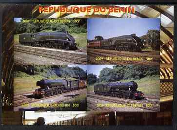 Benin 2009 Steam Locomotives imperf sheetlet containing 4 values unmounted mint. Note this item is privately produced and is offered purely on its thematic appeal