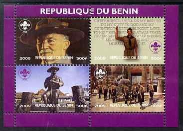 Benin 2009 Baden Powell & Scouts perf sheetlet containing 4 values unmounted mint. Note this item is privately produced and is offered purely on its thematic appeal