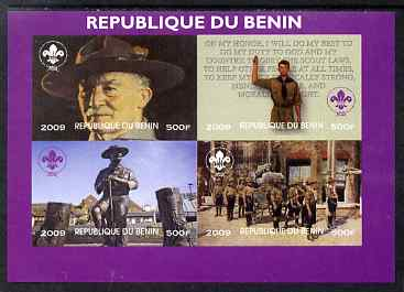 Benin 2009 Baden Powell & Scouts imperf sheetlet containing 4 values unmounted mint. Note this item is privately produced and is offered purely on its thematic appeal