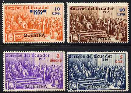 Ecuador 1939 the unissued Columbus 4 values overprinted MUESTRA (Specimen) with gum