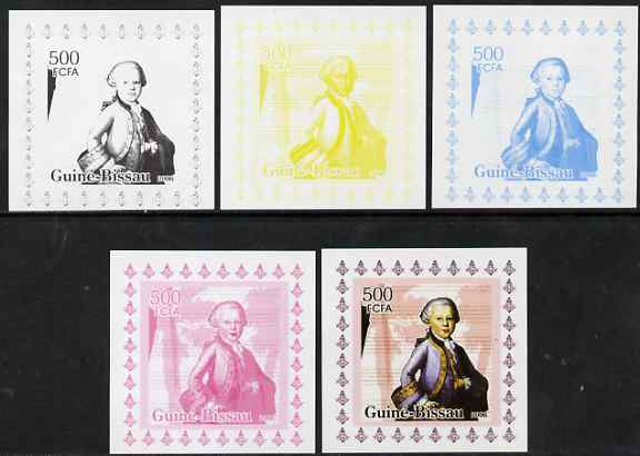 Guinea - Bissau 2006 Mozart #1 individual deluxe sheet - the set of 5 imperf progressive proofs comprising the 4 individual colours plus all 4-colour composite, unmounted...