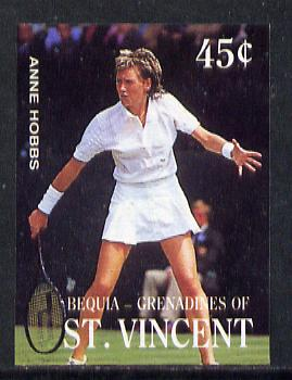 St Vincent - Bequia 1988 International Tennis Players 45c (Anne Hobbs) imperf progressive proof in 4 colours only (orange omitted leaving Country, name and value in white) unmounted mint*