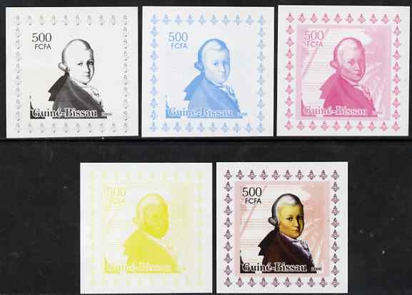 Guinea - Bissau 2006 Mozart #3 individual deluxe sheet - the set of 5 imperf progressive proofs comprising the 4 individual colours plus all 4-colour composite, unmounted mint