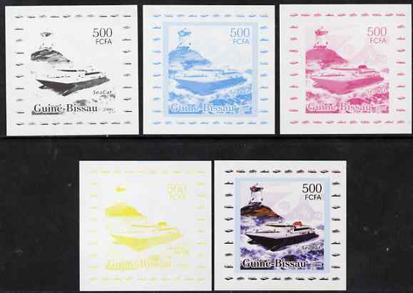 Guinea - Bissau 2006 Ships & Lighthouses #5 - Sea Cat individual deluxe sheet - the set of 5 imperf progressive proofs comprising the 4 individual colours plus all 4-colour composite, unmounted mint