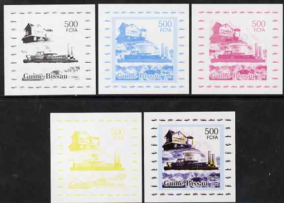 Guinea - Bissau 2006 Ships & Lighthouses #6 - SR-N1 Hovecraft individual deluxe sheet - the set of 5 imperf progressive proofs comprising the 4 individual colours plus all 4-colour composite, unmounted mint