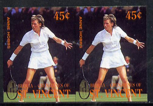 St Vincent - Bequia 1988 International Tennis Players 45c (Anne Hobbs) imperf horiz pair unmounted mint*
