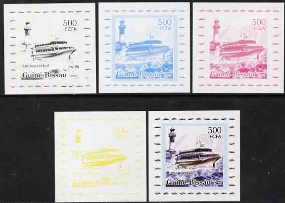 Guinea - Bissau 2006 Ships & Lighthouses #7 - Boeing Jet Foil individual deluxe sheet - the set of 5 imperf progressive proofs comprising the 4 individual colours plus all 4-colour composite, unmounted mint